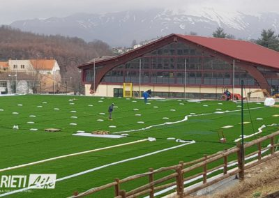 Amatrice, ecco il nuovo campo da calcio in sintetico finanziato con le multe della Serie A 2