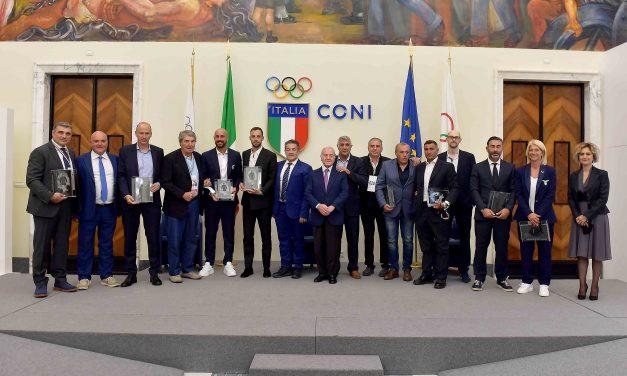 Cerimonia di consegna dei Premi MANLIO SCOPIGNO e FELICE PULICI – Malagò e Letta ricevono i premi speciali – A Zoff, Giordano e Peruzzi i premi alla Carriera